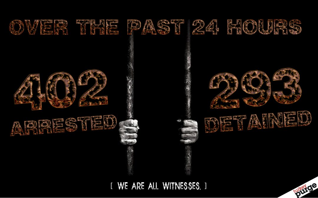 402 arrested, 293 detained in yesterday's operations