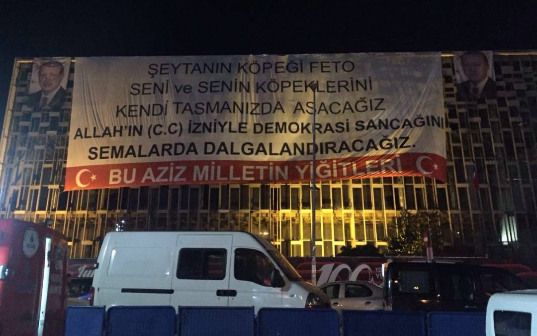 """We will execute Gulen, his followers,"" reads AK Party banner in Taksim"