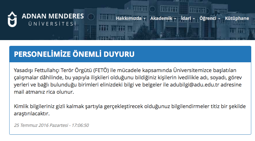 University calls on personnel to tip any Gulen sympathizer