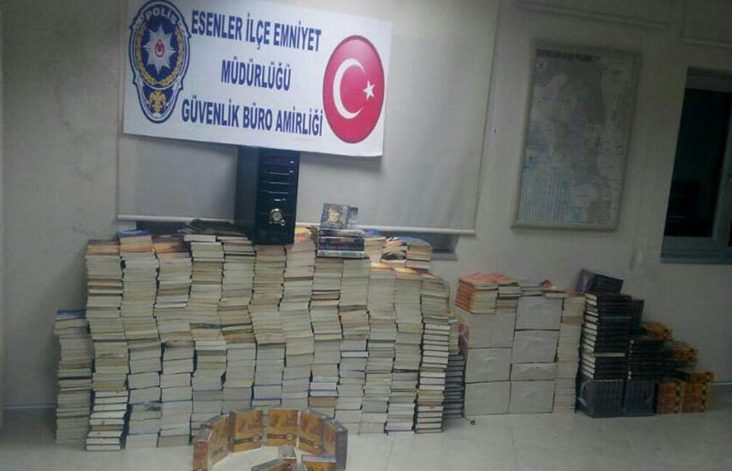 Istanbul police display hundreds of books among evidence of 'terror'