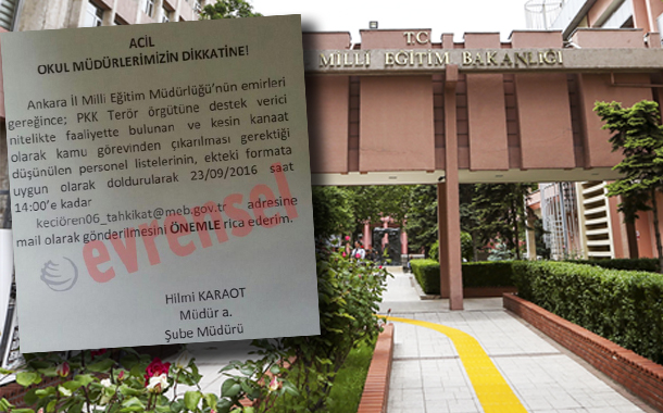 School principals asked to report about teachers with alleged links to PKK