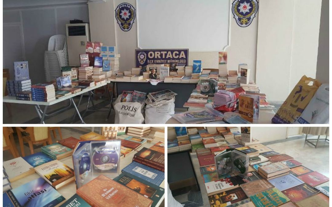 Books, CDs being displayed as evidence of terror in post-coup Turkey