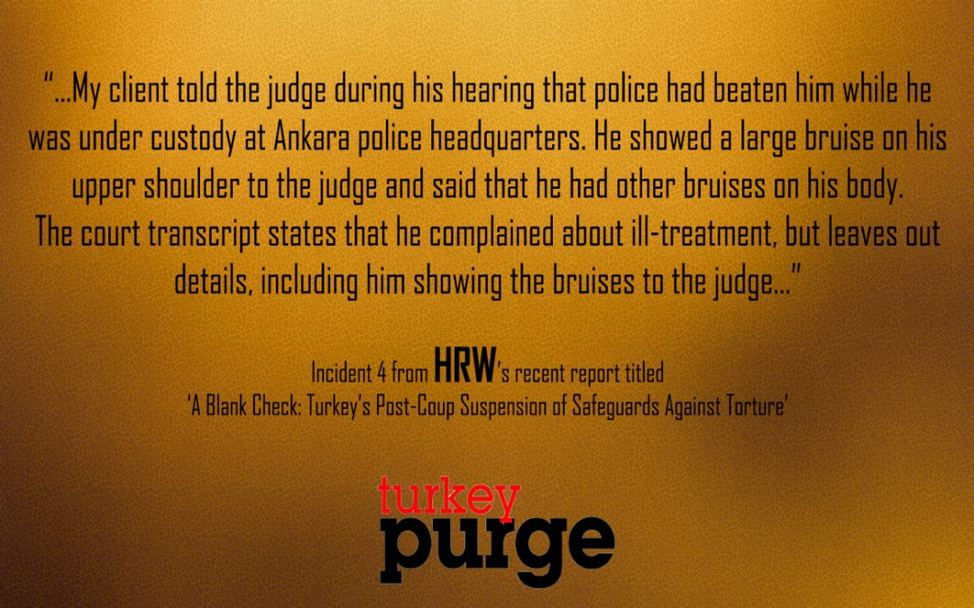 Human Rights Watch: Judge ignores large bruises on detainee's body, rules on arrest