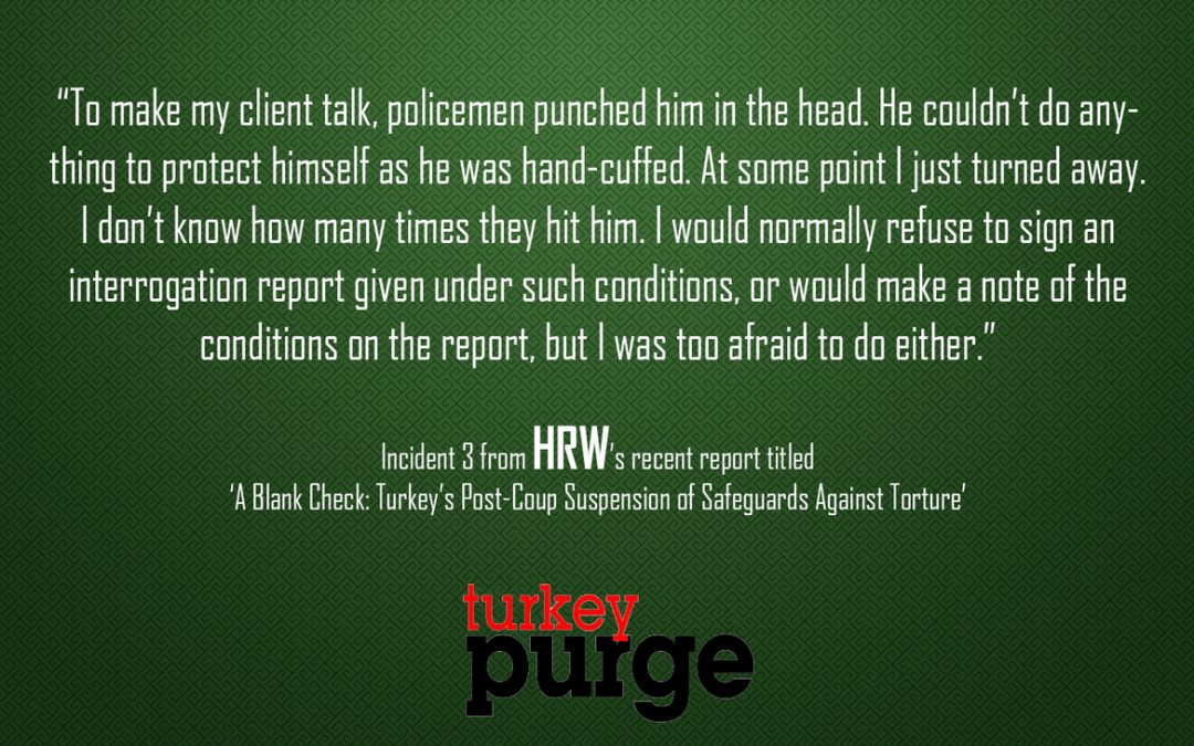 Human Rights Watch: Turkish lawyer afraid to complain about tortured client