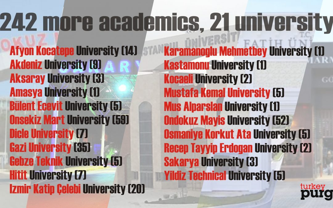 Turkish gov't dismisses 242 more academics, brings total to 6,579