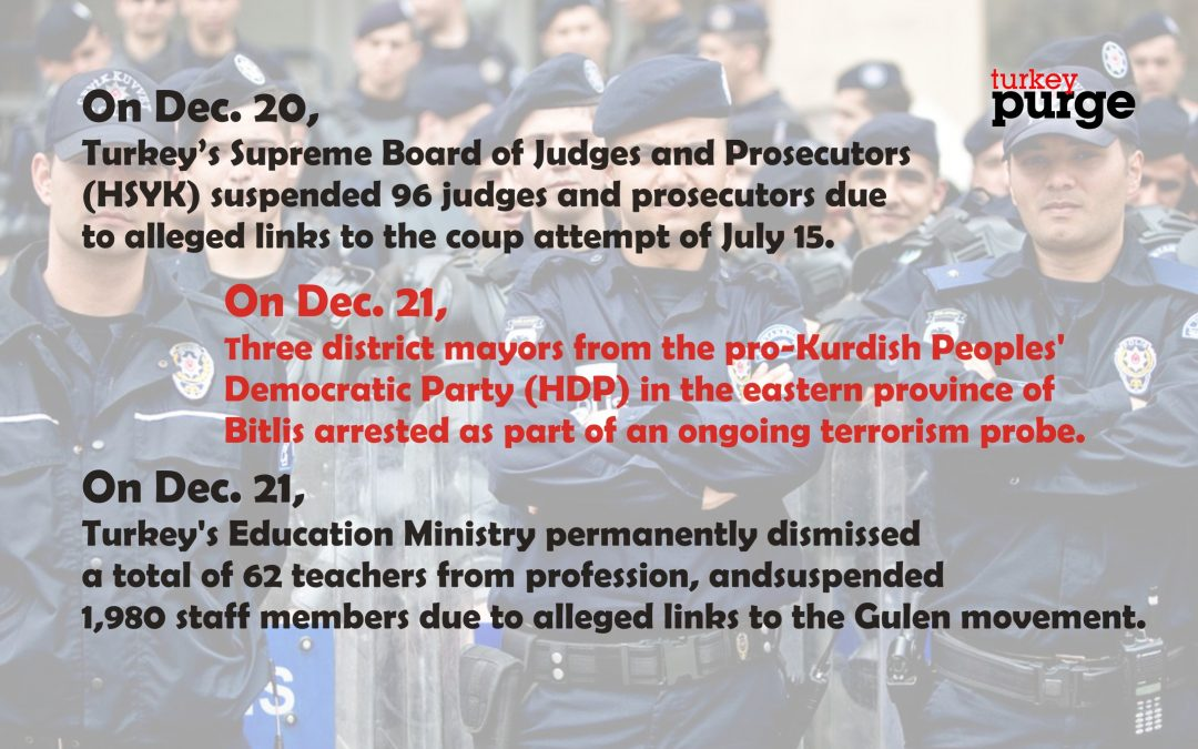 TURKEY PURGE IN PAST 72 HOURS: 2000 teachers suspended, 158 others dismissed, 125 arrested, 221 detained over coup charges