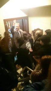 Repulican People's Party (CHP) İstanbul deputy Barış Yarkadaş shared a photo from his Twitter account while police took Mahalli to police station from his home in İstanbul.