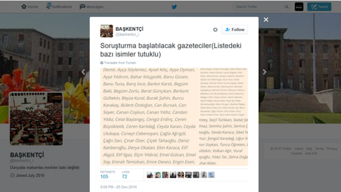 Over 150 journalists to face investigation, pro-gov't Twitter account claims