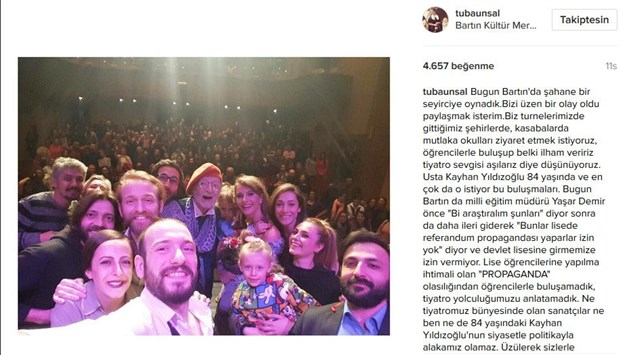 Turkish actors denied speech at school over fears of no propaganda ahead of referendum