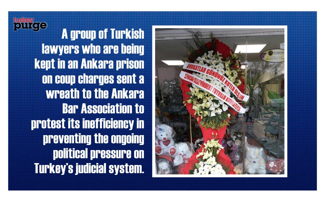 Imprisoned Ankara lawyers send wreath to bar association on Lawyers Day