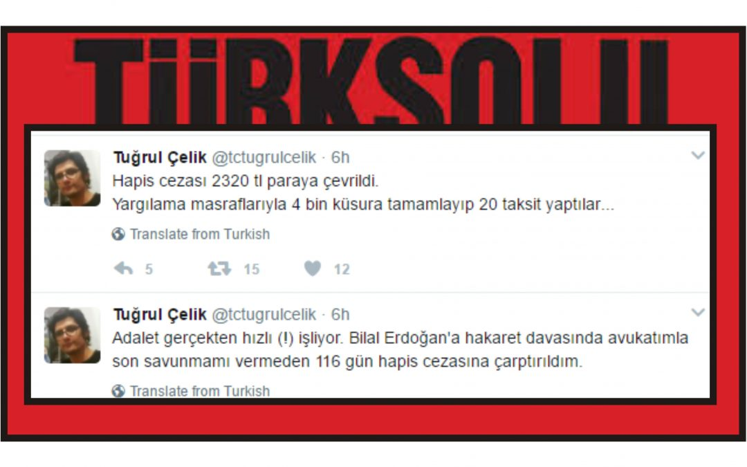 Leftist columnist fined TL 4,391 for 'insulting' President Erdogan's son in column