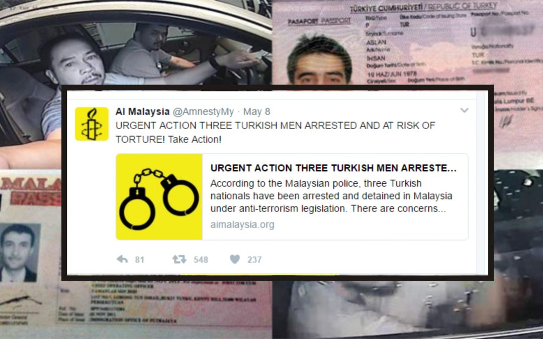 Amnesty Int'l demands urgent action for Turks at risk of extradition from Malaysia