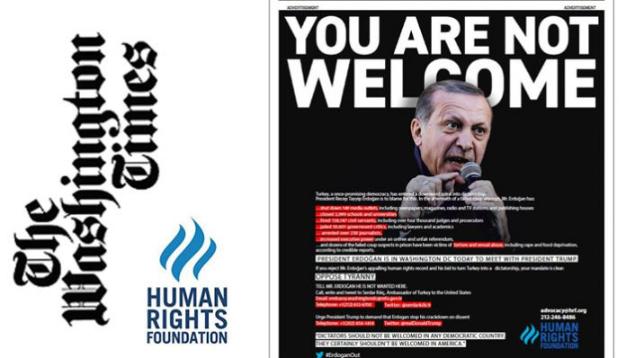 HRF publishes full page ad telling Erdoğan 'You are not welcome'
