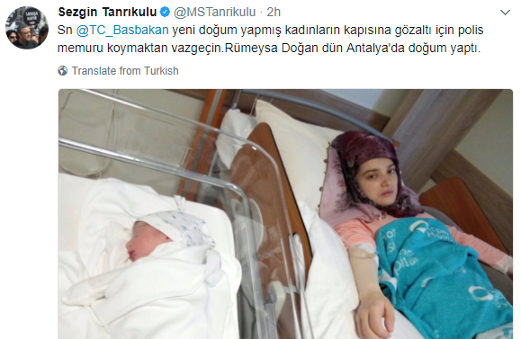CHP deputy calls on PM to stop arrest of women after giving birth