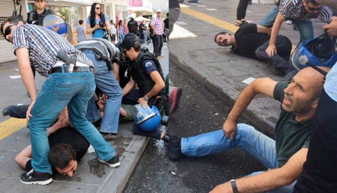 Police break man's arm while detaining 47 protesters in Ankara