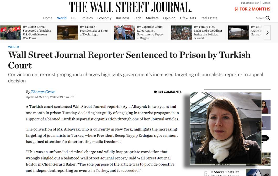 Turkish court sentences WSJ reporter to 2 years in jail over terror charges