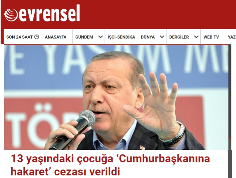 13-year-old given 21-month suspended sentence for 'insulting' Erdoğan