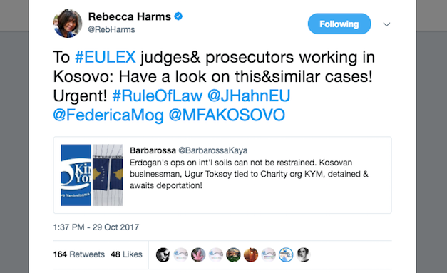 Harms urges EULEX to look into Kosovo's detaining of Gülen-linked teacher