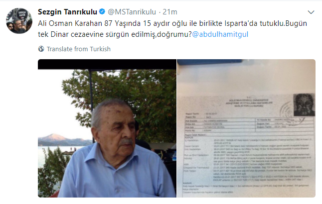 87-year old 'coup suspect' forcibly transferred to prison 100km away from hometown: opposition deputy