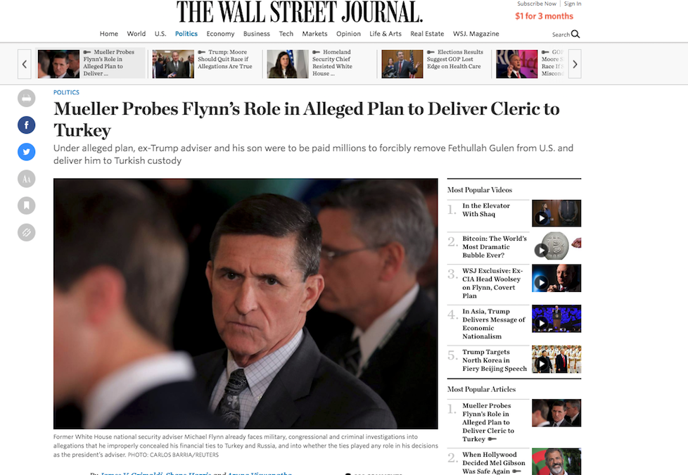 WSJ: Turkey proposed $15 million to Flynn, son to abduct Fethullah Gulen
