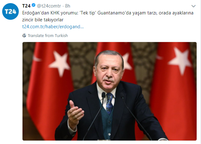 Erdoğan on new jumpsuits: This is not exclusive to Turkey. The US created a lifestyle with identical uniforms in Guantanamo