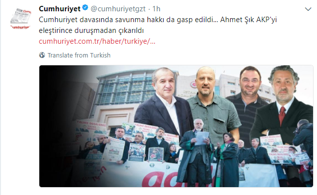 İstanbul court removes Ahmet Şık from courtroom, rules Cumhuriyet journalists to remain in jail