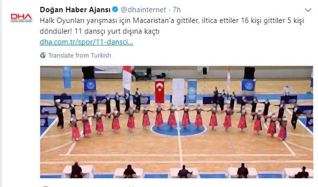 Turkey's national folk dancers seek asylum in Hungary after attending dance contest