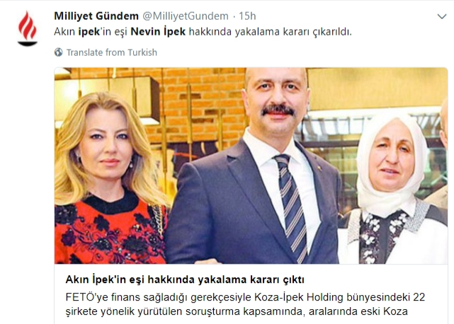 Turkey issues detention warrant for wife of famed Turkish businessman