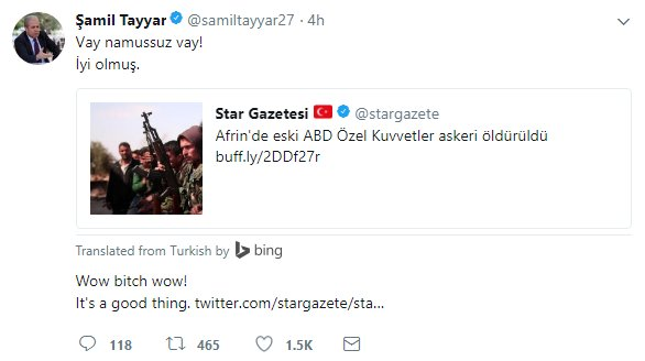 Pro-Erdogan deputy cheers alleged death of US soldier in Syria