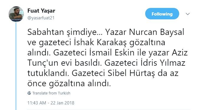 Turkey detains 41 including 6 journalists over tweets criticizing military operations in Afrin