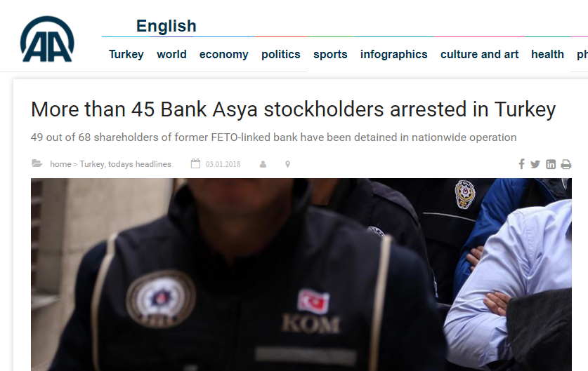 At least 49 former Bank Asya shareholders taken into custody over coup charges: report