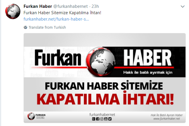 Turkey blocks access to Furkan news portal on terror charges