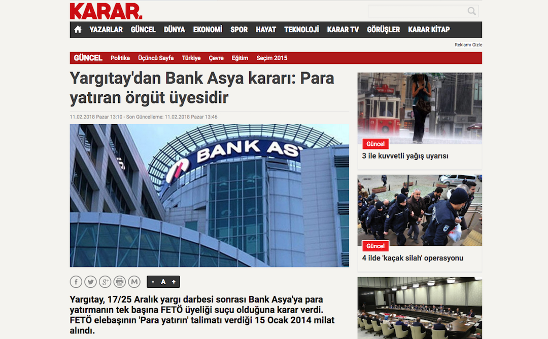 Turkey's top appeal court says Bank Asya depositors 'terrorist'