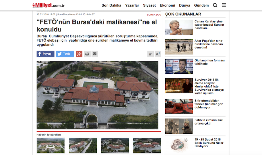 Luxury Bursa mansion seized from Gulen-linked businessman