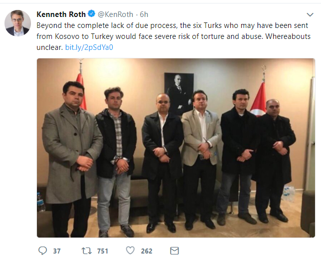 HRW: 6 Turks taken from Kosovo to Turkey face risk of torture and abuse