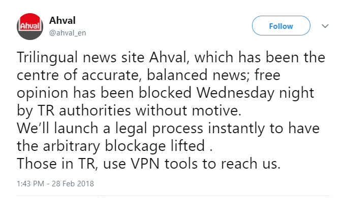 Turkish gov't bans access to critical Ahval news website: report