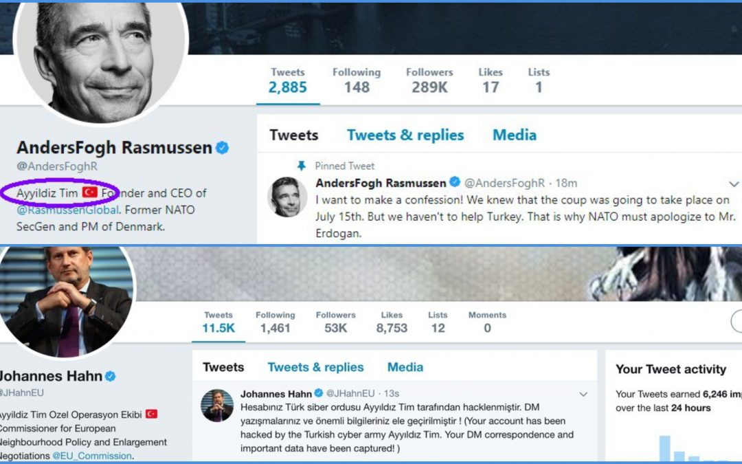 Pro-Erdogan group hacks Twitter accounts of EU Commissioner Hahn, former NATO head