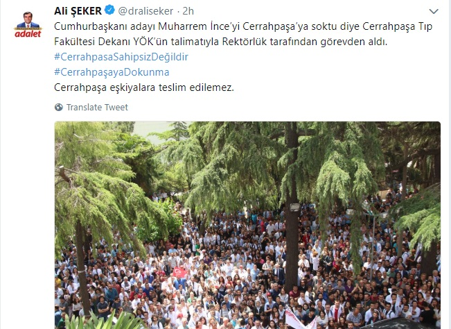 Dean removed from post after 'allowing opposition presidential candidate onto Cerrahpaşa campus'