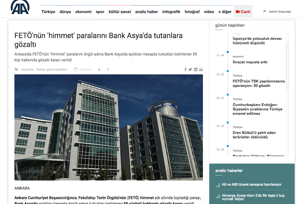 Detention warrants issued for 59 people for holding money at Bank Asya