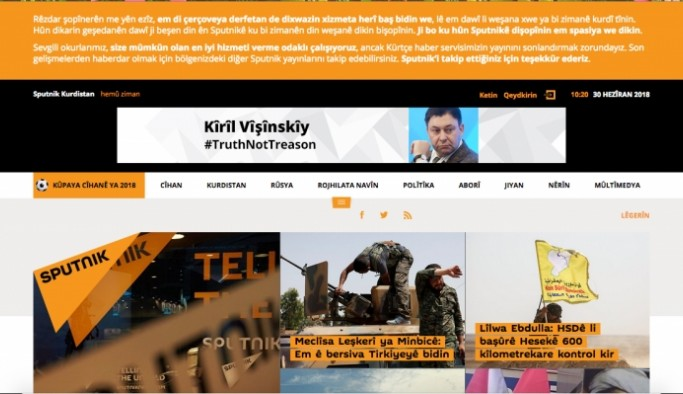 Russia's Sputnik news agency closes Kurdish website at Turkey's request: report