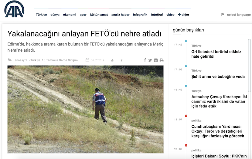 Turkish man, wanted over Gulen links, jumps into Evros river to avoid arrest: report