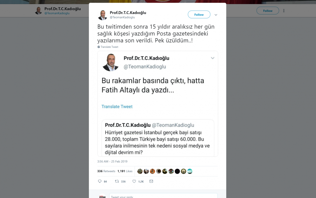 Pro-gov't paper fires columnist due to tweet on low circulation figures