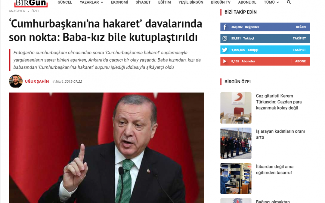 Report: Man reports daughter to police for insulting Erdogan, daughter does the same in response