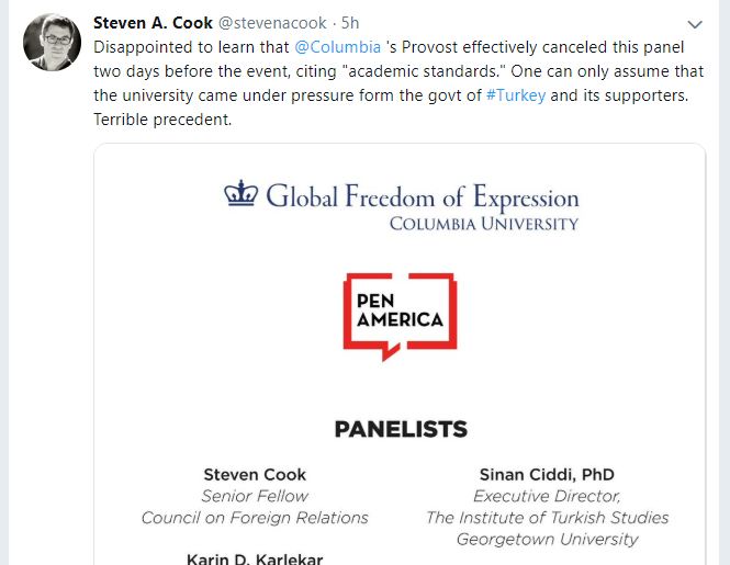 """Columbia University cancels panel on Turkey due to pressure from Turkish government"""