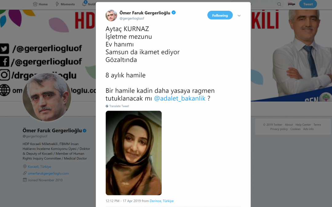 8-month pregnant woman detained in Samsun: deputy