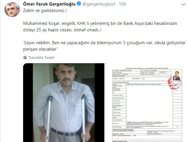 Purge-victim disabled man gets 25 months in prison for depositing money in Bank Asya