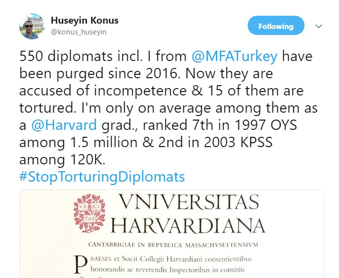 550 high-ranking Turkish diplomats including Harvard, Oxford, Columbia grads, purged since 2016 coup attempt