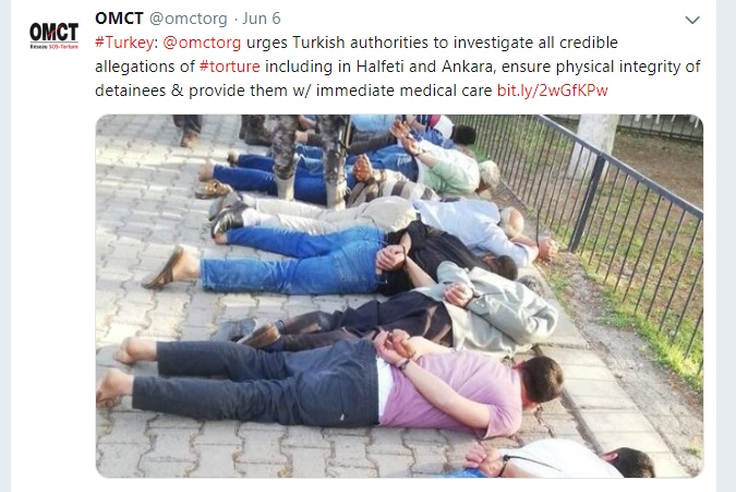 OMCT ‏calls on Turkish gov't to investigate 'credible' torture allegations 'across the country'