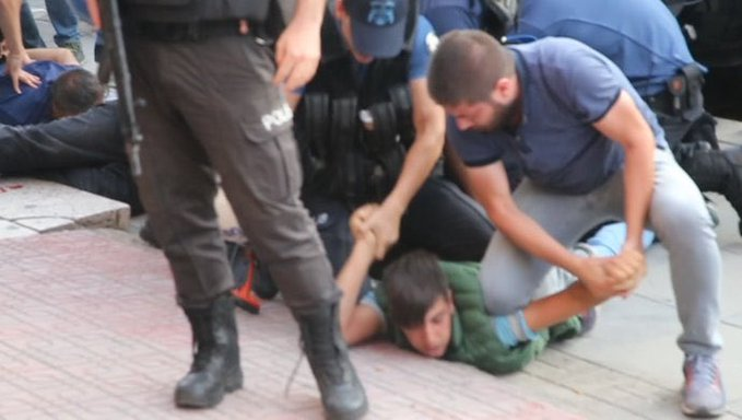 12-year-old detained, handcuffed behind back for protesting removal of Kurdish mayors