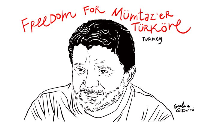 Italian cartoonist portrays purge-victim political scientist Mümtaz'er Türköne